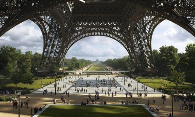 Eiffel Tower revamp to turn roads into garden in heart of Paris