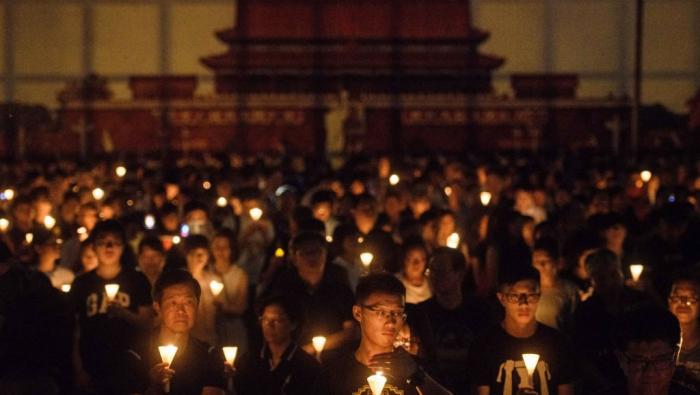Des militants commémorent Tiananmen devant l