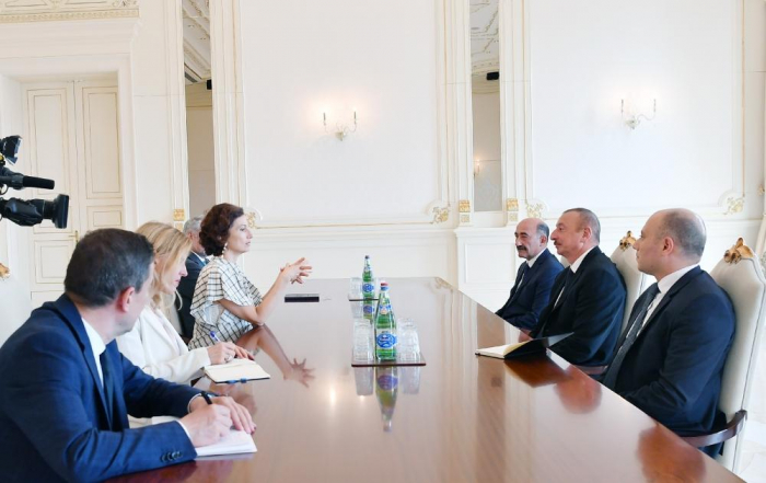 President Ilham Aliyev receives delegation led by Director-General of UNESCO Audrey Azoulay