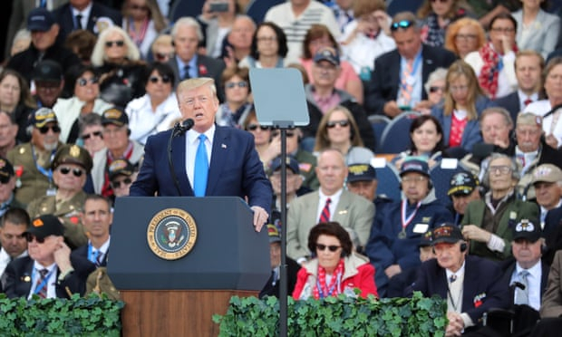 Trump bashes Pelosi and veteran Mueller as he marks D-day anniversary