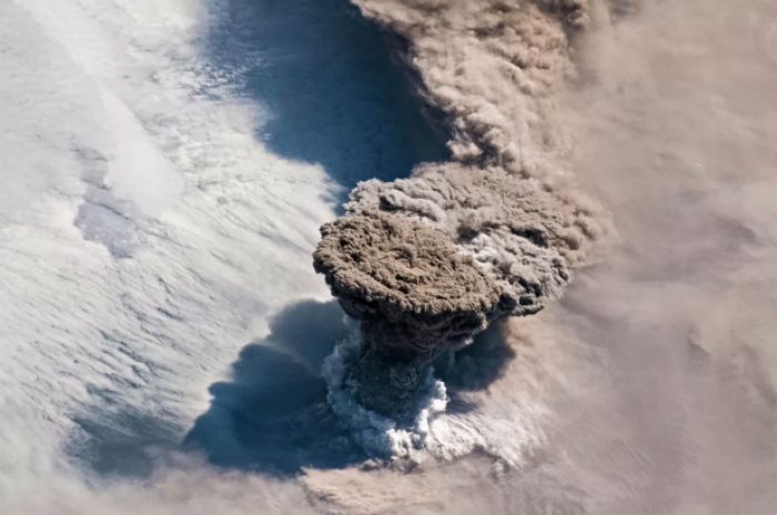 Astronauts snap insane photo of volcano eruption from space