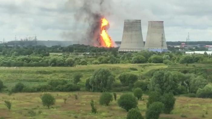 VIDEOS:  Se desata un incendio en una central termoeléctrica cerca de Moscú