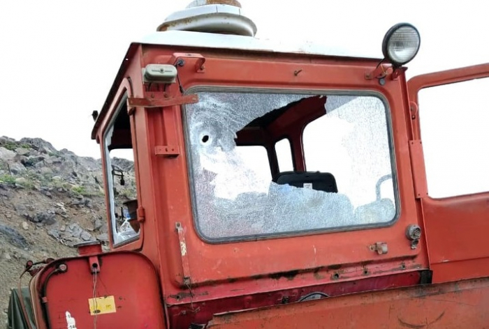 Armenian armed forces open fire at civilian tractor in Azerbaijan