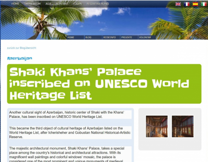 Swiss travel portal posts article on Sheki