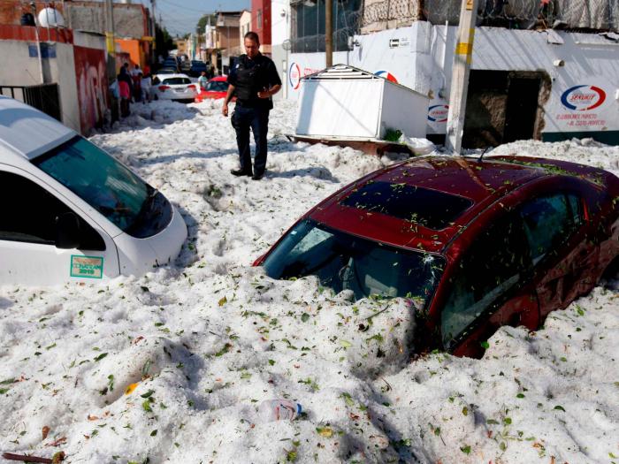 Freak summer hailstorm buries Mexico