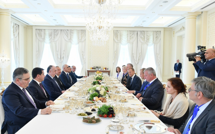 President Ilham Aliyev, President of European Council Donald Tusk held expanded meeting