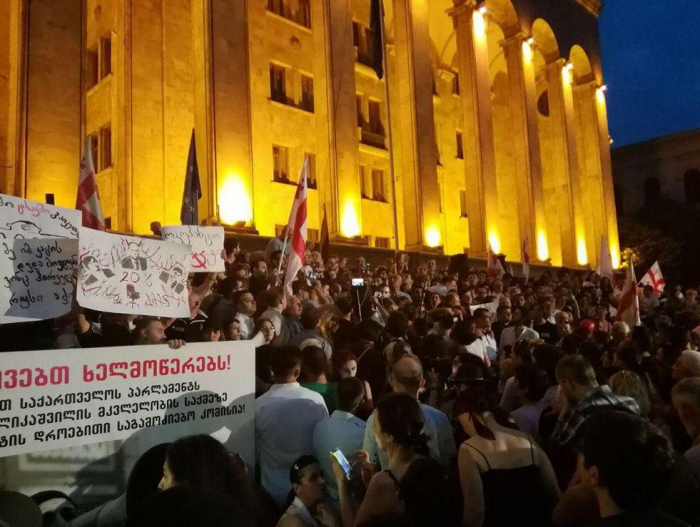 Hunger strike  continues in front of Georgian Parliament building