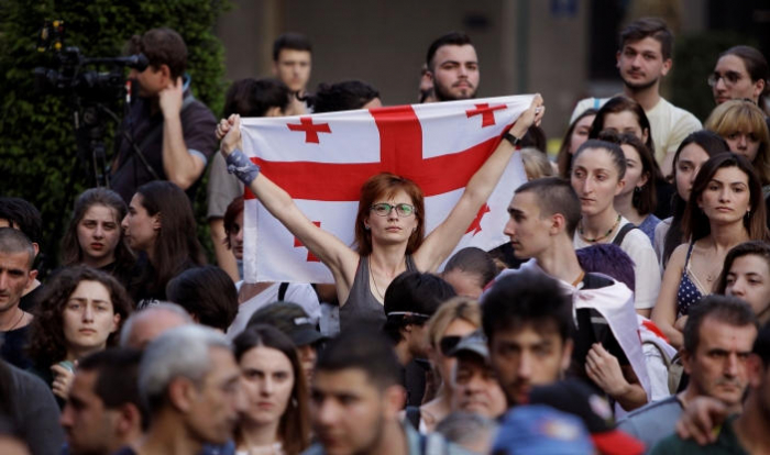 Group of young people continue to protest in Georgia