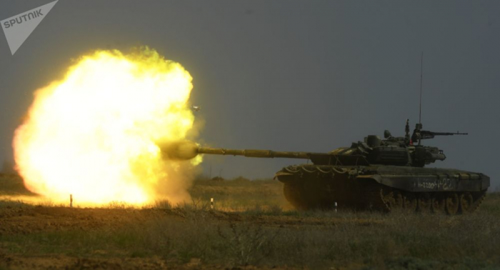 Toman en Siria una singular foto de un tanque ruso T-90A con su defensa antimisiles activada