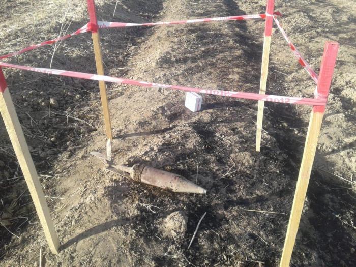 Im aserbaidschanischen Stadtteil Fizuli nicht explodierte Granate entdeckt