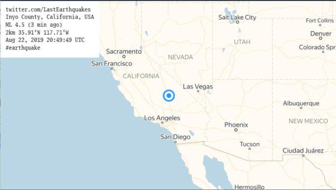 EE.UU.:   Se registra un sismo de magnitud 5,0 en California