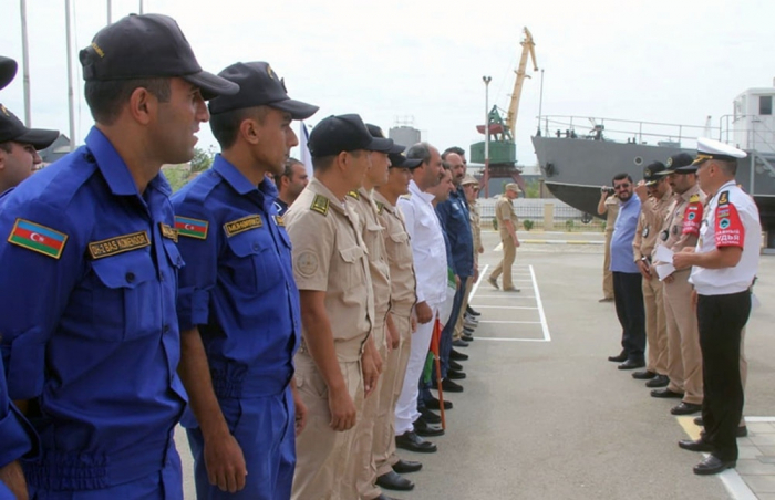 "Azerbaijani military seamen win ""Water inflow control on a coastal training complex"" episode"