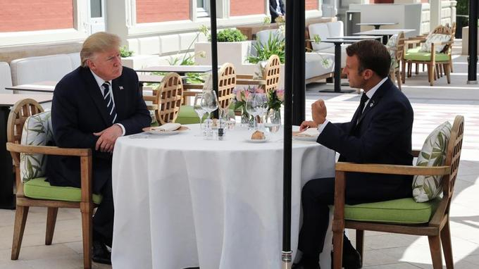 G7 :  Macron et Trump déjeunent ensemble