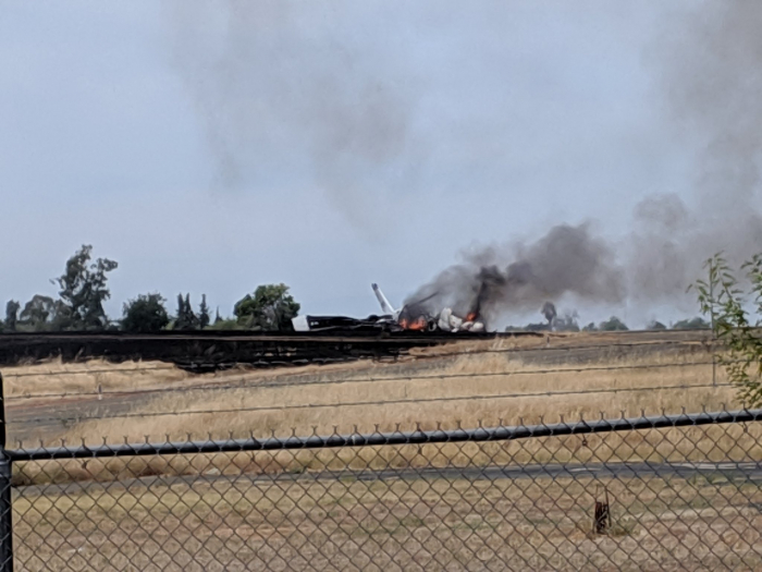 Plane erupts in flames after aborted takeoff at California Airport