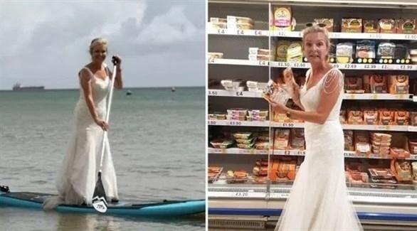 ترتدي فستان زفافها وهي تؤدي مهامها اليومية.. والسبب؟