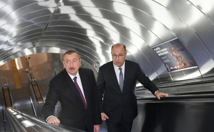 President Ilham Aliyev views work done at Khatai station of Baku Metro - PHOTOS