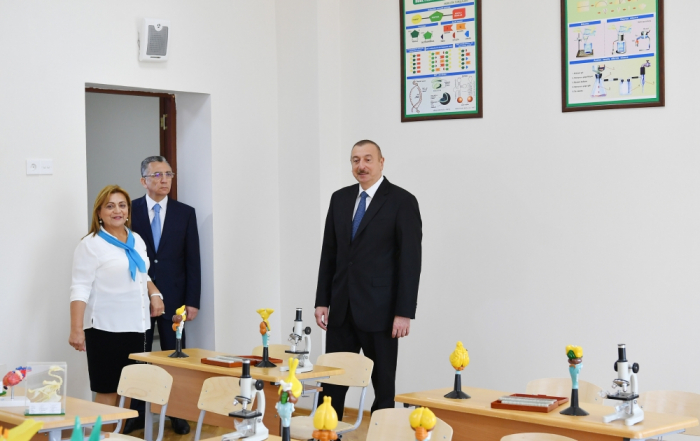 President Ilham Aliyev views conditions created at newly-reconstructed school in Baku - PHOTOS