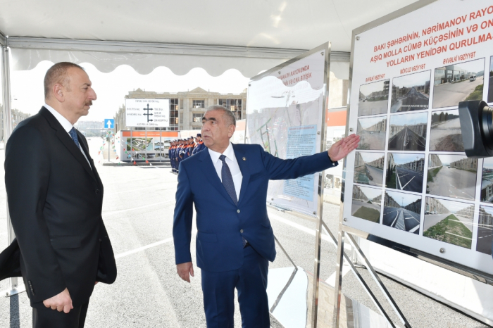 President Ilham Aliyev attends opening of newly-reconstructed street and roads in Baku