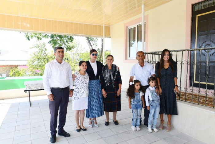 First Vice-President Mehriban Aliyeva views new house built instead of quake-damaged one in Shamakhi