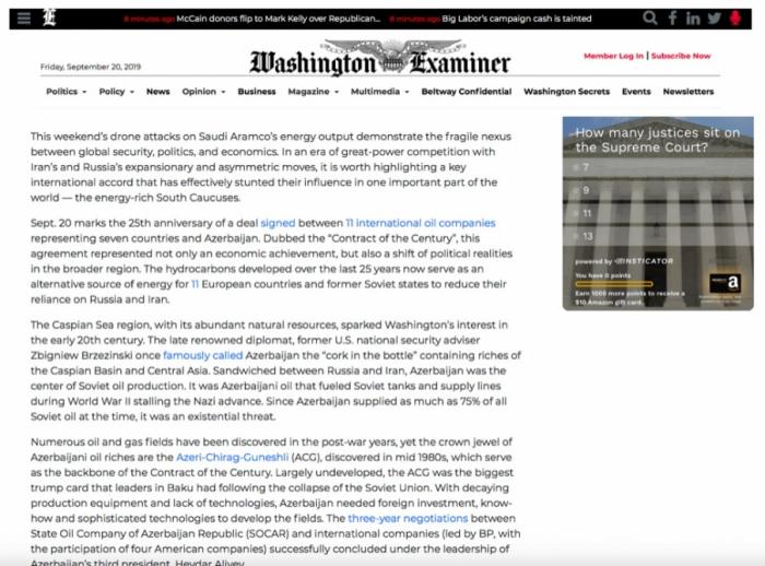 """La revista """"Washington Examiner"""" emite un artículo sobre el 25º aniversario del Contrato del Siglo"""