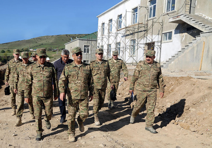Azerbaijan's defense minister visits military units under construction on frontline