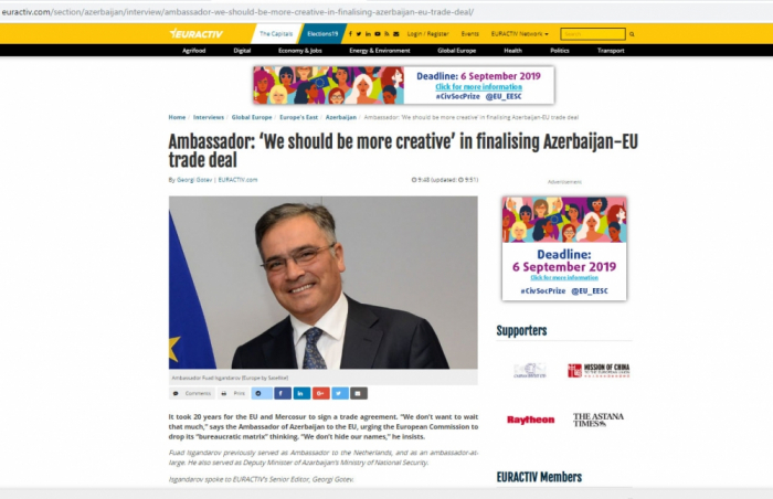 Ambassador: 'We should be more creative' in finalizing Azerbaijan-EU trade deal