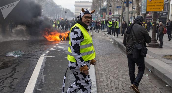الشرطة تعتقل 65 شخصا من متظاهري السترات الصفراء في باريس