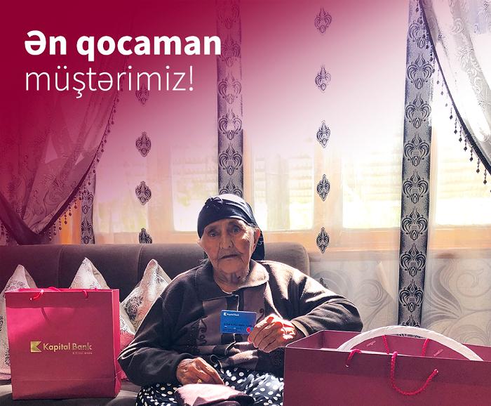 """""""Kapital Bank""""ın əməkdaşları 123 yaşlı müştərini ziyarət etdi"""