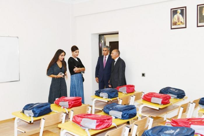 Birinci xanım Məlikçobanlı məktəbinə baş çəkib - FOTOLAR
