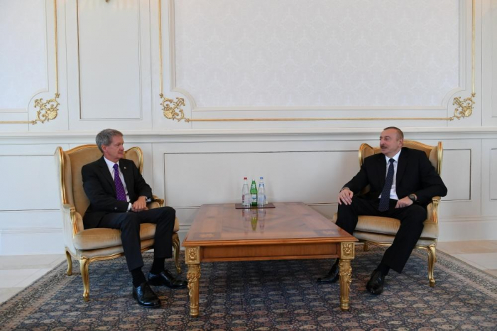 President Ilham Aliyev receives credentials of incoming Latvian, UK ambassadors