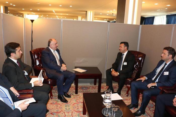 Elmar Məmmədyarov Zoran Zaev ilə görüşüb