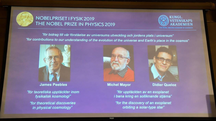 Le Nobel de physique décerné à James Peebles, Michel Mayor et Didier Queloz