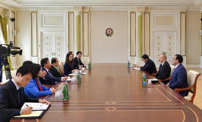 Ilham Aliyev recibe al presidente de la Asamblea Nacional de Corea del Sur