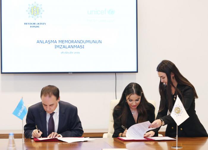 Heydar Aliyev Foundation, UNICEF sign MoU