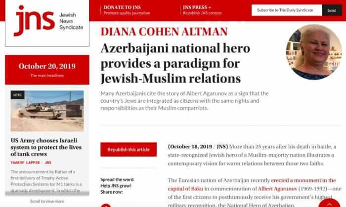 Jewish News Syndicate  : el héroe nacional de Azerbaiyán es un ejemplo de las relaciones judío-musulmanas