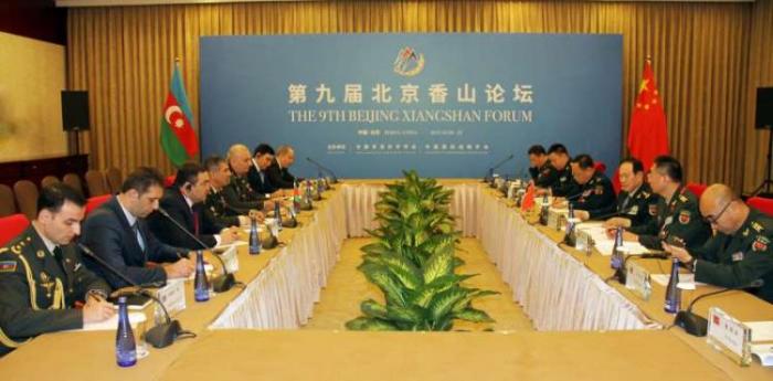 Azerbaijani Defense Minister Zakir Hasanov meets his Chinese counterpart