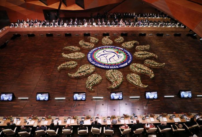 President Ilham Aliyev taking part in debates within 18th NAM Summit in Baku