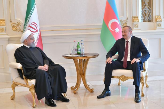 President Ilham Aliyev meets Iranian President Rouhani