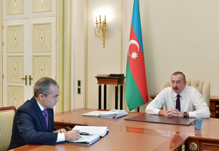 President Ilham Aliyev receives Mikayil Jabbarov in connection with his appointment to new post