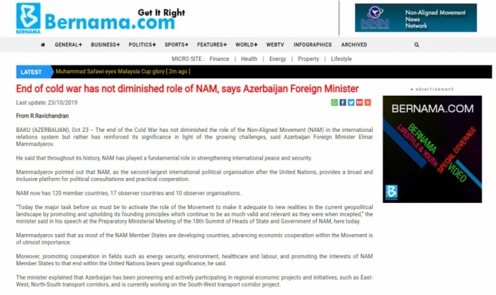 Bernama: End of cold war has not diminished role of NAM