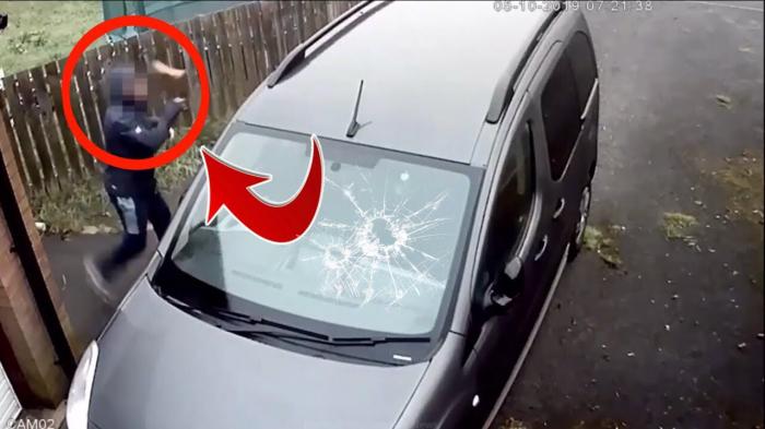 بالفيديو... لص فاشل حاول سرقة سيارة فحطم وجهه