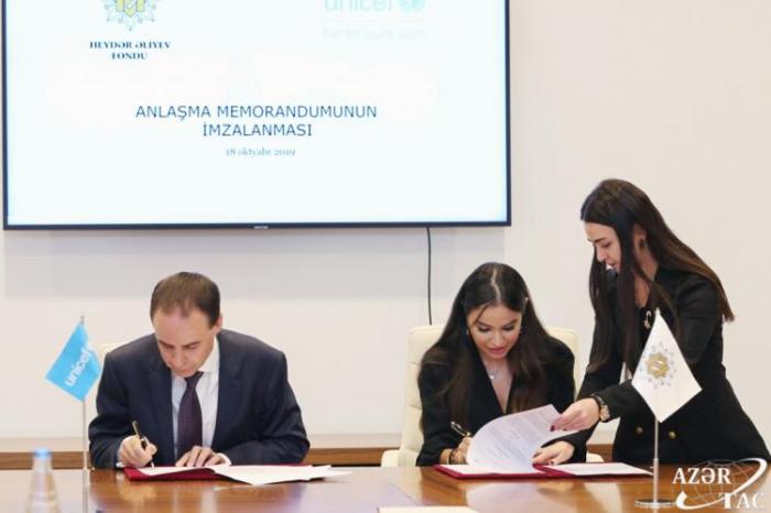 Heydər Əliyev Fondu UNİSEF ilə Anlaşma Memorandumu imzaladı