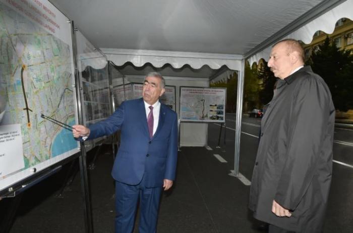 President Ilham Aliyev views renovation work done at Baku street