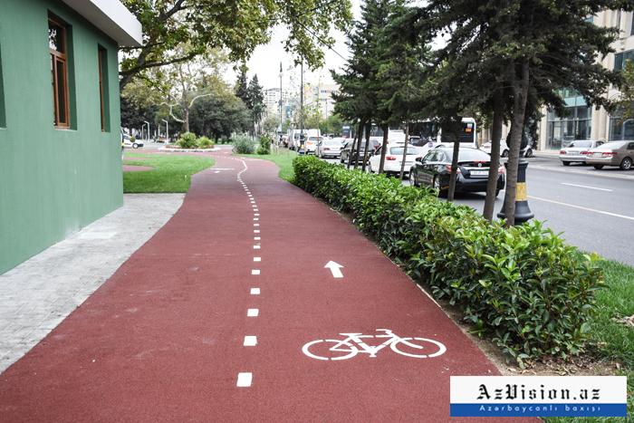 Bakının parklarında da velosiped zolaqları salınır