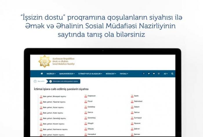 """""""İşsizin dostu"""" proqramına kimlər cəlb olunub?"""