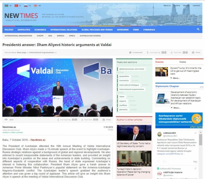 La respuesta del Presidente: Los argumentos históricos de Ilham Aliyev en Valdai