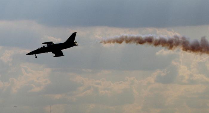 """على بعد أمتار من الأرض...طائرة """"ل-39"""" تحلق على علو منخفض للغاية (فيديو)"""