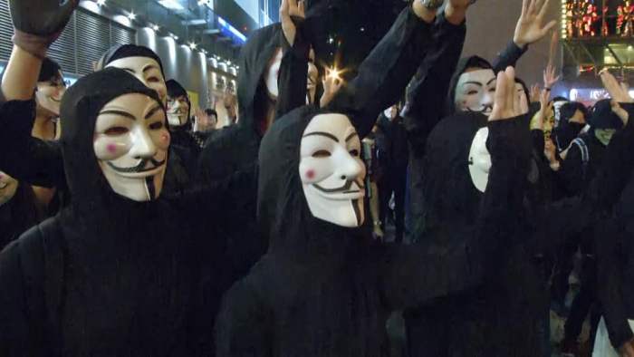 Defiant Hong Kong protesters mark one-month ban on masks-  NO COMMENT