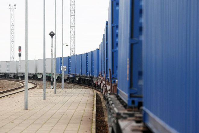 Freight train running along BTK railway arriving in Ankara