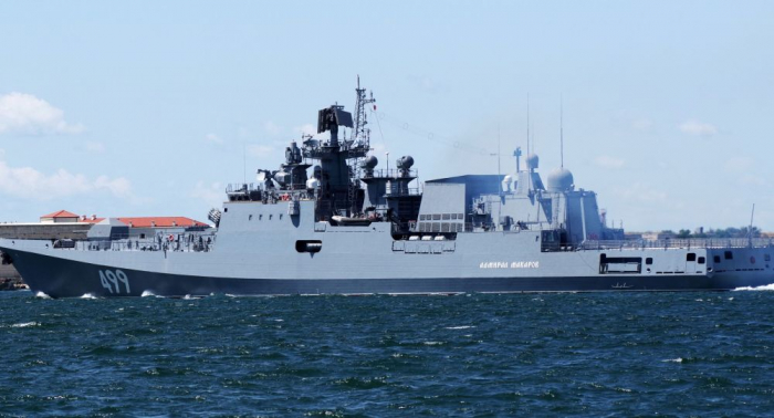 """Manöver im Mittelmeer:   Russische """"Admiral Makarow"""" übt zusammen mit bordgestützter Fliegerei"""